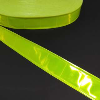 Тесьма светоотражающая 25мм квадраты желтая неон оптом
