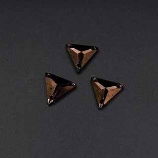 Кристалл пришивной треуголник граненый бронзовый оптом