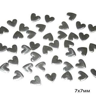 Термостразы металл сердце 7х7мм серебристые оптом