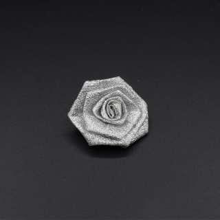 Пришивной декор розочка 50мм из парчовой ленты серебристый оптом