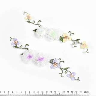 Пришивной декор цветы из ленты и вышивки 6х17см оптом