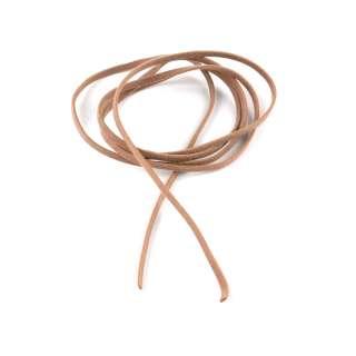 Шнур замша-флок бежевий темний (1шт / 1м) ширина 3 мм, товщина 0,6 мм оптом