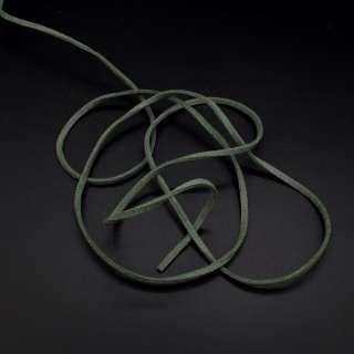 Шнур замшевый 3 мм толщина 1мм зеленый темный оптом