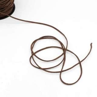 Шнур замшевый 3 мм толщина 1мм коричневый темный оптом