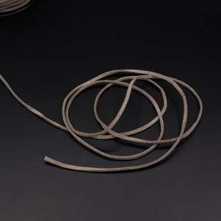 Шнур замшевый 3 мм толщина 1мм коричнево-серый оптом