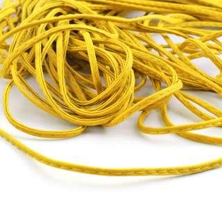 Шнур кожзам 4мм желтый оптом