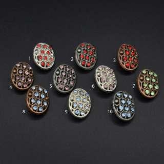 Ґудзик на ніжці метал овальний з каменем кольоровим 22х16 мм оптом