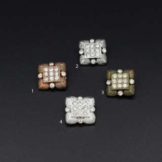 Ґудзик на ніжці метал квадратний з каменем білим 1.8х1.8 мм оптом