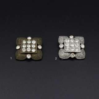 Ґудзик на ніжці метал квадратний з каменем білим 29х29 мм оптом