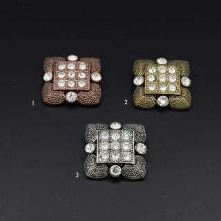 Ґудзик на ніжці метал квадратний з каменем білим 31х31 мм оптом