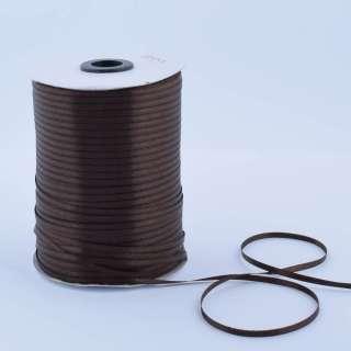 А1-01-037 атласная лента ш 0,3см коричневая темная на метраж (в бобине 880яр/315г оптом