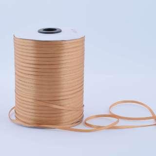 А1-01-161 атласная лента ш 0,3см коричневая светлая на метраж(в бобине  880яр/315г) оптом