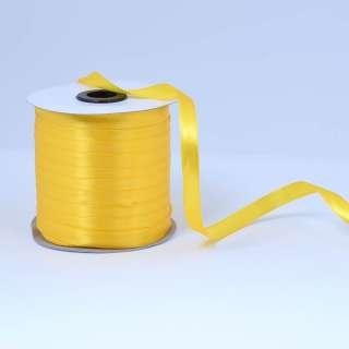 Стрічка атласна 10мм жовта яскрава А1-03-016 на метраж (бобіна 230яр / 193,70г) оптом