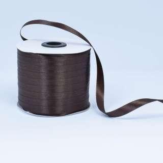 Стрічка атласна 10мм коричнева темна А1-03-037 на метраж (бобіна 230яр / 193,70г) оптом