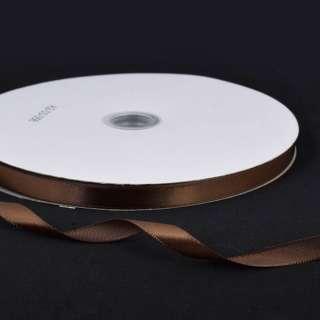 Стрічка атласна 10мм коричнева темна А2-03-056 на метраж (бобіна 100яр / 158г) оптом