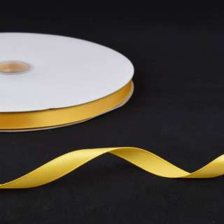 Стрічка атласна 10мм жовта А2-03-066 на метраж (бобіна 100яр / 158г) оптом