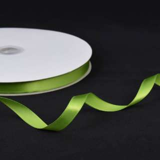 Стрічка атласна 10мм зелена світла А2-03-124 на метраж (бобіна 100яр / 158г) оптом