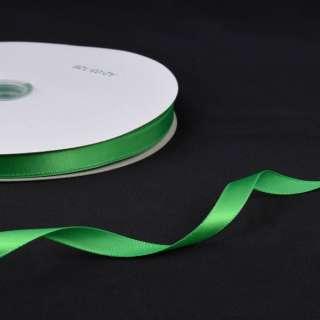 Стрічка атласна 10мм зелена А2-03-126 на метраж (бобіна 100яр / 158г) оптом