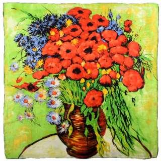 Хустка шовкова 86х87 см Червоні троянди і маргаритки (ван Гог) оптом
