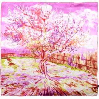 Хустка шовкова 88х88 см Персикова квітка в рожевих тонах (ван Гог) оптом