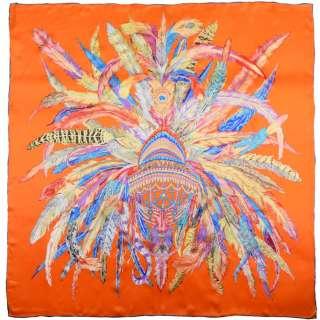 Хустка шовкова із золотою печаткою 105х107 см різнокольорові пір'я, помаранчевий оптом