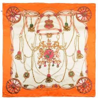 Хустка шовкова із золотою печаткою 105х107 см лев і єдиноріг, Койма помаранчева, молочний оптом