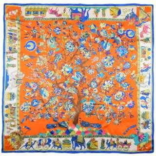 Хустка шовкова із золотою печаткою 105х108 см дерево, кольорова облямівка, помаранчевий оптом