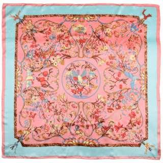 Хустка шовкова із золотою печаткою 104х105 см квіти, птахи, облямівка блакитна, рожевий оптом