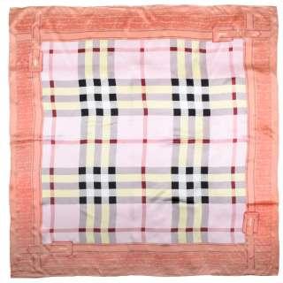 Хустка шовкова із золотою печаткою 105х106 см в клітку, облямівка персикова, рожевий оптом
