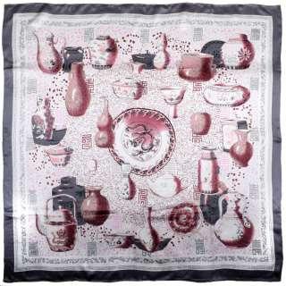 Хустка шовкова 106х106 см античні вази бордові, сірий світлий оптом