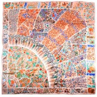 Хустка шовкова 104х106 см квіткові візерунки сині, помаранчеві, персиковий оптом