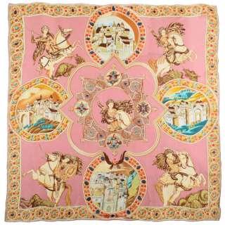 Хустка шовкова 106х106 см Георгій Побідоносець, облямівка з орнаментом, рожевий оптом