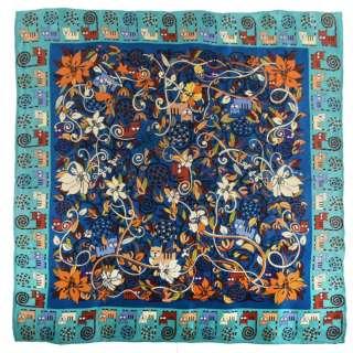Хустка шовкова 85х85 см кольорові коти на гілках, блакитна облямівка, синій оптом