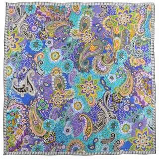 Хустка шовкова 106х107 см квіти, огірки бузково-бірюзовий оптом