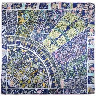 Хустка шовкова 106х107 см квіткові візерунки жовті, рожеві, синій оптом