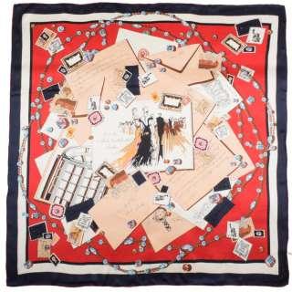 Хустка шовкова 106х107 см листівки, листи, намиста, червоний оптом