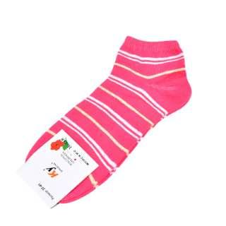 Носки розовые яркие в бело-желтую полоску (1пара) оптом