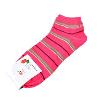 Носки розовые яркие в зелено-желтую полоску (1пара) оптом