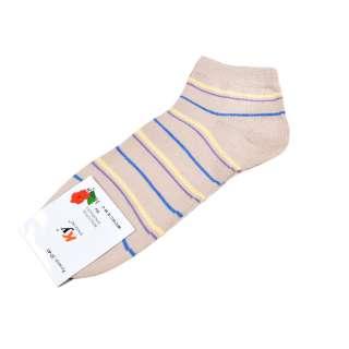 Носки бежевые в желто-голубую полоску (1пара) оптом