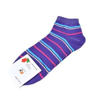 Носки фиолетовые в бирюзово-малиновую полоску (1пара) оптом