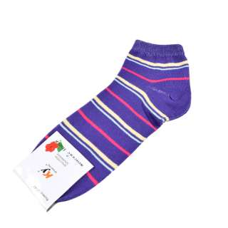 Носки фиолетовые в желто-малиновую полоску (1пара) оптом