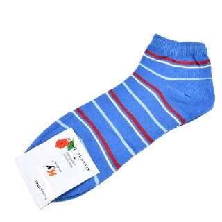Носки голубые темные в красно-голубую полоску (1пара) оптом