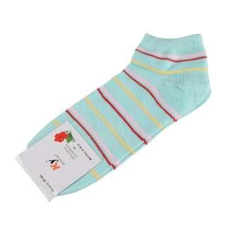 Носки бирюзовые светлые в красно-розовую + желтую полоску (1пара) оптом