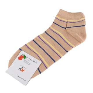 Носки бежевые в желто-фиолетовую + синюю полоску (1пара) оптом