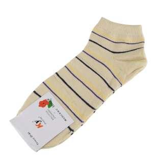 Носки бежевые светлые в желто-фиолетовую + черную полоску (1пара) оптом