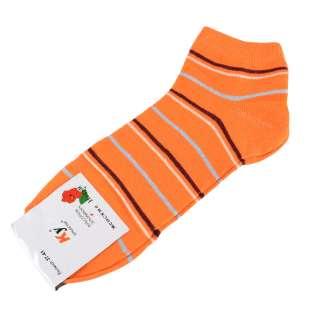 Носки оранжевые в коричнево-белую + серую полоску (1пара) оптом