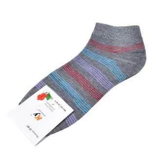 Носки серые в бирюзово-сиреневую полоску (1пара) оптом