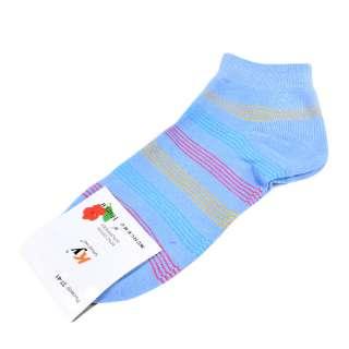 Носки сиренево-голубые в оранжево-красную полоску (1пара) оптом