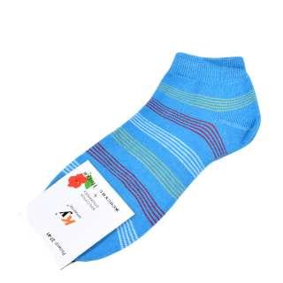 Носки голубо-бирюзовые в бело-красную полоску (1пара) оптом
