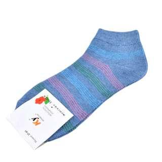 Носки серо-голубые в розово-зеленую полоску (1пара) оптом